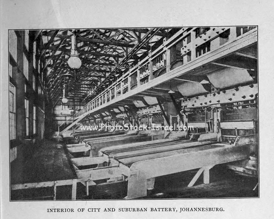 Interior of the City and Suburban Battery, Johannesburg from the book ' Boer and Britisher in South Africa; a history of the Boer-British war and the wars for United South Africa, together with biographies of the great men who made the history of South Africa ' By Neville, John Ormond Published by Thompson & Thomas, Chicago, USA in 1900