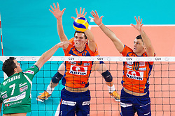 Wout Wijsmans of Cuneo vs Alen Sket of ACH and Borislav Petrovic of ACH during volleyball match between ACH Volley Ljubljana and Bre Banca Lannutti Cuneo (ITA) in Playoff 12 game of CEV Champions League 2012/13 on January 15, 2013 in Arena Stozice, Ljubljana, Slovenia. (Photo By Vid Ponikvar / Sportida.com)