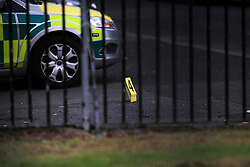 © Licensed to London News Pictures. 10/05/2016. Belfast, Northern Ireland, Forensic Science teams marker is seen in the area of Lady Street in west Belfast following the shooting of a man in his 50's late Monday evening. Dan Murray, a takeaway delivery driver, had been taking an order to Lady Street, near Grosvenor Road, when he was shot at about 22:15 BST on Monday. Murder victim Dan Murray had survived a previous gun attack in May 2015. This was the 3rd shooting within 24 hours.  Photo credit : Paul McErlane/LNP