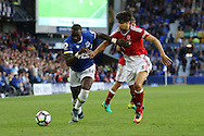 Yannick Bolasie of Everton (l) battles wth George Friend of Middlesbrough. Premier league match, Everton v Middlesbrough at Goodison Park in Liverpool, Merseyside on Saturday 17th September 2016.<br /> pic by Chris Stading, Andrew Orchard sports photography.
