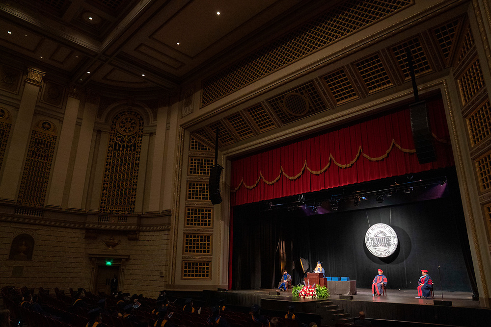 Graduate students in the SMU Master of Science in Data Science program participate in their diploma ceremony Saturday, May 15, 2021 at the McFarlin Auditorium on the SMU campus in Dallas.<br /> Job2 21-378