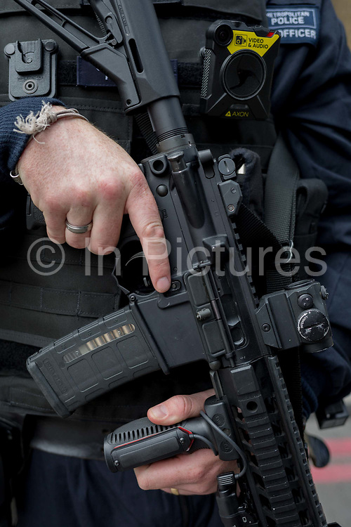 In the aftermath of the London Bridge and Borough Market terrorist attack the previous night, armed police are positioned at closed road junctions a half a mile from the crime scene where 7 people were killed and many others injured Sundays total. On Sunday 4th June 2017, in the south London borough of Southwark, England.