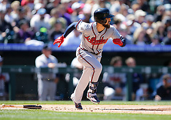 April 8, 2018 - Denver, CO, U.S. - DENVER, CO - APRIL 08: Atlanta Braves Outfielder Ender Inciarte (11) runs to first base during a regular season MLB game between the Colorado Rockies and the visiting Atlanta Braves on April 8, 2018 at Coors Field in Denver, CO. (Photo by Russell Lansford/Icon Sportswire) (Credit Image: © Russell Lansford/Icon SMI via ZUMA Press)