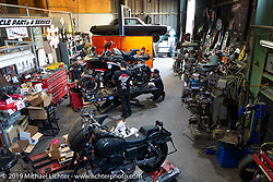 Brothers Shaun and Aaron Guardado in their Suicide Machine shop got help from RSD's Aaron Boss as they were doing final prep on their Born Free Harley-Davidson custom and race bikes. Long Beach, CA, USA. Wednesday, June 19, 2019. Photography ©2019 Michael Lichter.