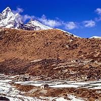 Luza village in the Gokyo Valley in the Khumbu region of Nepal. 1979