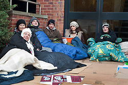 Staff at Virgin Media's Sheffield Office were sleeping rough out side their work place last night to raise awareness and funds for Shelter the Homeless charity. They were also collecting Blankets, Sleeping Bags and Clothes which will be donated to the local branch of Shelter..left to right; Louise Oxley, Sarah Laidlores, Danny Marshall, Jono Clegg, Laura Pattinson  and Will Helliwell .10 November 2011. Image © Paul David Drabble