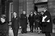 09/02/1965<br /> 02/09/1965<br /> 09 February 1965<br /> Prime Minister of Northern Ireland, Captain Terence O'Neill visits Taoiseach Sean Lemass in Dublin. Captain Terence O'Neill, Prime Minister of Northern Ireland, Mrs O'Neill and members of their party being seen off by Taoiseach Sean Lemass after their talks at the Department of External Affairs in Dublin.