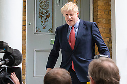 © Licensed to London News Pictures. 19/06/2019. London, UK. Boris Johnson MP, frontrunner to become Leader of the Conservative Party and the next Prime Minister, leaves home. Conservative MPs will vote again in the leadership race this afternoon. Photo credit: Rob Pinney/LNP