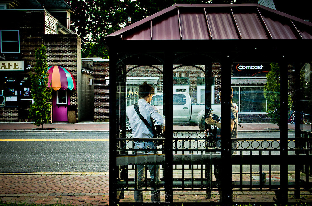 Members of Black Horse Motel loosen up in the bus stop prior to playing in The Bus Stop Music Cafe in Pitman, NJ.