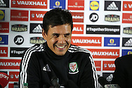 FAW press conference with Wales National football Team Manager, Chris Coleman  pictured after he signs a new extension to his contract at the Vale Resort Hotel in Hensol, South Wales on Monday 23rd May 2016.<br /> pic by Andrew Orchard, Andrew Orchard sports photography.