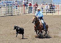 Jayce Johnson, of Hemingford, NE get off to a great start in Sunday's Day of Champions tiedown finale at the California Rodeo Salinas.