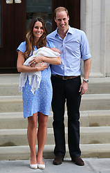 The Duke and Duchess of Cambridge with their new baby boy outside the Lindo Wing of St Mary's Hospital, London, Tuesday, 23rd July 2013<br /> Picture by Stephen Lock / i-Images
