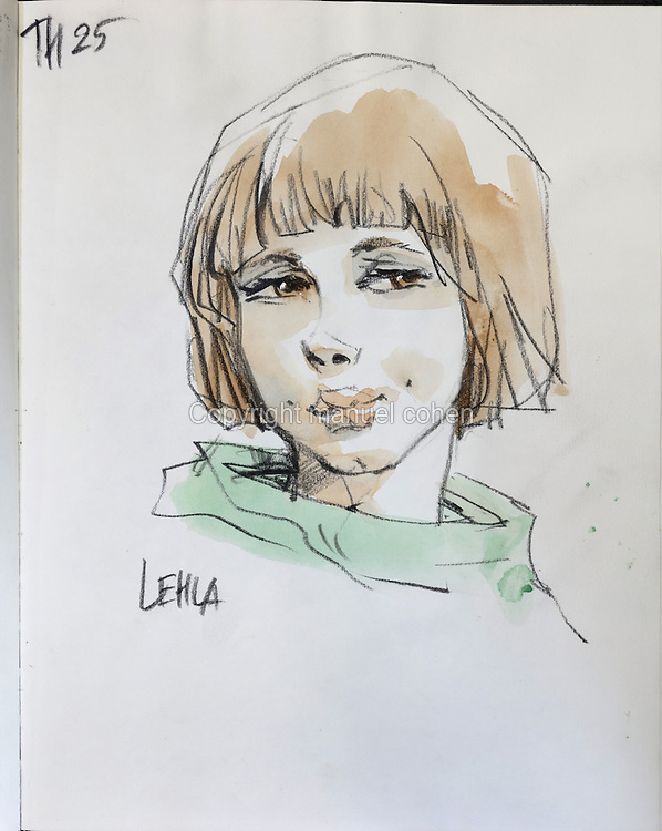 Sketch of Lehla, daughter of banished Vikings who travelled with Thorgal and his family, from Series 25 Le Mal Bleu, from a sketchbook used for developing characters, used since 2000, by Grzegorz Rosinski, 1941-, Polish comic book artist. Rosinski was born in Stalowa Wola, Poland, and now lives in Switzerland, and is the author and designer of many Polish comic book series. He created Thorgal with Belgian writer Jean Van Hamme. The series was first published in Tintin in 1977 and has been published by Le Lombard since 1980. The stories cover Norse mythology, Atlantean fantasy, science fiction, horror and adventure genres. Picture by Manuel Cohen / Further clearances requested, please contact us and/or visit www.lelombard.com