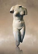 """Torso of Venus (Greek goddess of love), 2nd century Roma copy found near Florence. This sculpture depicts Aphrodite in the typical pose known as the Modest Aphrodite style and is a copy of a lost 4th century BC Aphrodite of Cnidos sculpture by Athenian sculpture Praxiteles.This copy follows the style of the late Hellanistic type known as the """"Medici Venus"""". Altes Museum Berlin"""