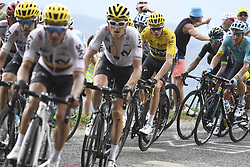 July 8, 2017 - Station Des Rousses, FRANCE - British Chris Froome of Team Sky wearing the yellow jersey of overal leader pictured in action during the eighth stage of the 104th edition of the Tour de France cycling race, 187,5km from Dole to Station des Rousses, France, Saturday 08 July 2017. This year's Tour de France takes place from July first to July 23rd...BELGA PHOTO YORICK JANSENS (Credit Image: © Yorick Jansens/Belga via ZUMA Press)