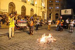May 24, 2017 - Rio De Janeiro, Brazil - Protesters protest against the government of President Michel Temer in downtown Rio de Janeiro, on May 24, 2017. (Credit Image: © Luiz Souza/NurPhoto via ZUMA Press)
