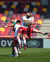 Rugby Union - 2020 / 2021 Gallagher Premiership - Round 17 - London Irish vs Harlequins - Brentford Community Stadium<br /> <br /> Harlequins' Mike Brown claims a high ball as London Irish's Curtis Rona looks on.<br /> <br /> COLORSPORT