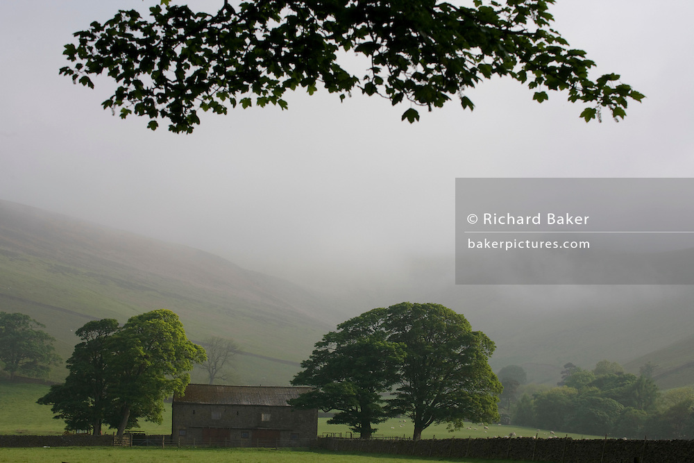 Early morning mist in Vale of Edale, Peak District National Park, Derbyshire. .Edale is a valley in North Derbyshire, situated about 15 miles west of Sheffield, in the heart of the Peak District National Park. Edale valley is a loose collection of scattered farmsteads or 'booths' as they are known which grew up around the original shelters or 'boothies' used by shepards when tending their sheep on the hillsides. There are 5 main ones in Edale valley, Nether Booth, Ollerbooth, Upper Booth, Barber booth and Grindsbrook Booth of which the village called Edale is part. Edale village is in a lovely setting below Kinder Scout and is the start of the Pennine way, the first and longest footpath in England, opened in 1965. Edale church, dedicated to the Holy and Undivided Trinity was built in 1885 to a design by William Dawes of Manchester. It is aisleless and has a broach spire.