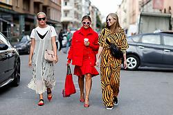 Street style, Nathalie Helgerud, Janka Polliani, and Tine Andrea arriving at Greta Gram Spring Summer 2017 show held at Stockholms Auktionsverk, Nybrogatan 32, in Stockholm, Sweden, on August 30th, 2016. Photo by Marie-Paola Bertrand-Hillion/ABACAPRESS.COM