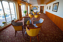 Lounge bar area inside Queen Elizabeth 2 former ocean liner now reopened as hotel in Dubai , United Arab Emirates
