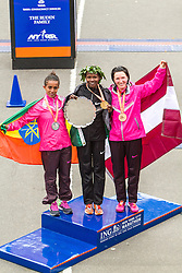 ING New York CIty Marathon: women's podium Buzunesh Deba, Priscah Jeptoo, Jelena Prokopkuca