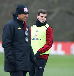 CARDIFF, WALES - Sunday, March 24, 2013: Wales' Gareth Bale and manager Chris Coleman during a training session at the Vale of Glamorgan ahead of the 2014 FIFA World Cup Brazil Qualifying Group A match against Croatia. (Pic by David Rawcliffe/Propaganda)  CARDIFF, WALES - Sunday, March 24, 2013: Wales' xxxx during a training session at the Vale of Glamorgan ahead of the 2014 FIFA World Cup Brazil Qualifying Group A match against Croatia. (Pic by David Rawcliffe/Propaganda)