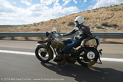 Greg McFarland riding his 1926 Harley-Davidson JD during stage 12 (299 m) of the Motorcycle Cannonball Cross-Country Endurance Run, which on this day ran from Springville, UT to Elko, NV, USA. Wednesday, September 17, 2014.  Photography ©2014 Michael Lichter.
