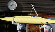 Caversham  Great Britain.<br /> Fran HOUGHTON and Olivia CARNEGIE-BROWN, carry their boat into the boat house.<br /> 2016 GBR Rowing Team Olympic Trials GBR Rowing Training Centre, Nr Reading  England.<br /> <br /> Tuesday  22/03/2016 <br /> <br /> [Mandatory Credit; Peter Spurrier/Intersport-images]