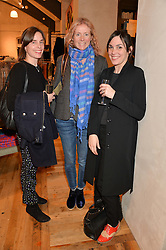 Left to right, LOUISE NICHOLS, JENNY DYSON and MEL MOSS at a party to celebrate the publication of 'Inspire: The Art of Living With Nature' by Willow Crossley held at Anthropologie, 131-141 Kings Road, London on 13th March 2014.