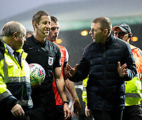 Luton Town manager Graeme Jones tries to speak with referee John Brooks after the first half<br /> <br /> Photographer Alex Dodd/CameraSport<br /> <br /> The EFL Sky Bet Championship - 191123 Luton Town v Leeds United - Saturday 23rd November 2019 - Kenilworth Road - Luton<br /> <br /> World Copyright © 2019 CameraSport. All rights reserved. 43 Linden Ave. Countesthorpe. Leicester. England. LE8 5PG - Tel: +44 (0) 116 277 4147 - admin@camerasport.com - www.camerasport.com