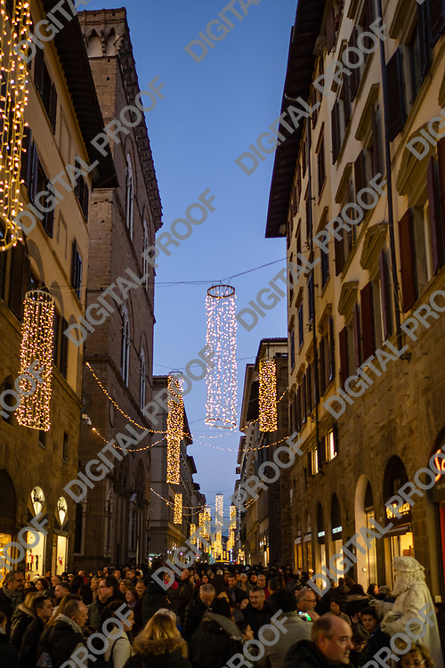 Firenze, Tuscany Italy - December 30, 2018 Florence Christmas lights as street ornaments in Florence at dusk