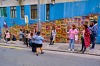 Chine, Hong Kong, Hong Kong Island, quartier branché de Soho, Hollywood road, peinture murale dans Graham Street // China, Hong Kong, Hong Kong Island, Soho in Hollywood road, wall painting on Graham street