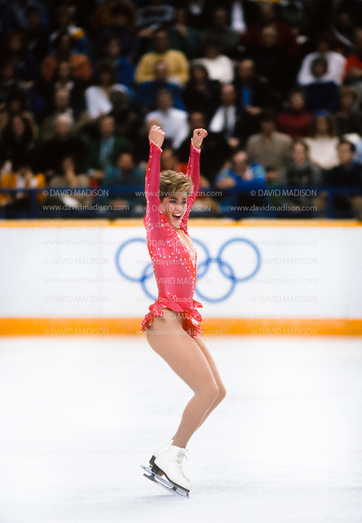 CALGARY, CANADA -  FEBRUARY 25:  Jill Trenary of the United States finishes her Short Program of the Women's Singles event of the Figure Skating competition of the 1988 Winter Olympic Games on February 25, 1988 at the Saddledome in Calgary, Alberta, Canada.  (Photo by David Madison/Getty Images)