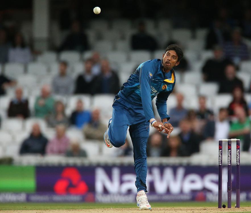 Sri Lanka's Sachithra Senanayake<br /> <br /> Photographer Kieran Galvin/CameraSport<br /> <br /> International Cricket - 2014 NatWest International T20 - England v Sri Lanka - Tuesday 20th May 2014 - The Kia Oval - London<br /> <br /> © CameraSport - 43 Linden Ave. Countesthorpe. Leicester. England. LE8 5PG - Tel: +44 (0) 116 277 4147 - admin@camerasport.com - www.camerasport.com