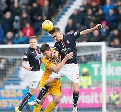 Morton's Ross Forbes and Falkirk's Luke Leahy. half time ; Falkirk 0 v 0 Morton, Scottish Championship game played 18/3/2017 at The Falkirk Stadium.