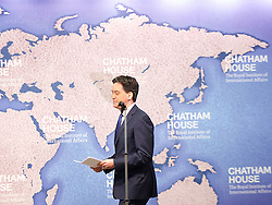 Ed Miliband speech on Britain's international role and responsibilities at Chatham House, London, Great Britain <br /> 24th April 2015 <br /> <br /> Ed Miliband <br /> Leader of the Labour Party <br /> General Election 2015 <br /> <br /> Photograph by Elliott Franks <br /> Image licensed to Elliott Franks Photography Services