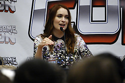 June 17, 2017 - Washington, District of Columbia, U.S - Felicia Day, writer/producer/actress on the web series ''The Guild'' and actress in television shows such as ''Buffy the Vampire Slayer'' and ''Eureka,'' answering questions during a session at Awesome Con 2017. (Credit Image: © Evan Golub via ZUMA Wire)