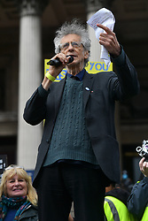 © Licensed to London News Pictures. 26/09/2020. London, UK. PIERS COYRBYN makes a speech at an anti-mask wearing demonstration in Trafalgar Square. The demonstrators are against the government laws of lockdown during the Covid-19 pandemic and the effects of the virus. Photo credit: London News Pictures