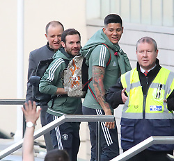 The Manchester United team arrive at The Lowry Hotel on Saturday evening to prepare for their home game against West Brom on Sunday afternoon. Seen: Marcos Rojo and Juan Mata.