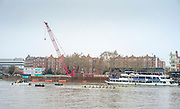 London,  England, Great Britain, 7th April 2019, Both crews pass the supporters boats, opening strokes of the 2019 Oxford and Cambridge Universities Men's Varsity, Boat Race, Championship Course, Putney to Mortlake, River Thames,<br /> [Mandatory Credit: Peter SPURRIER], Sunday  07/04/2019