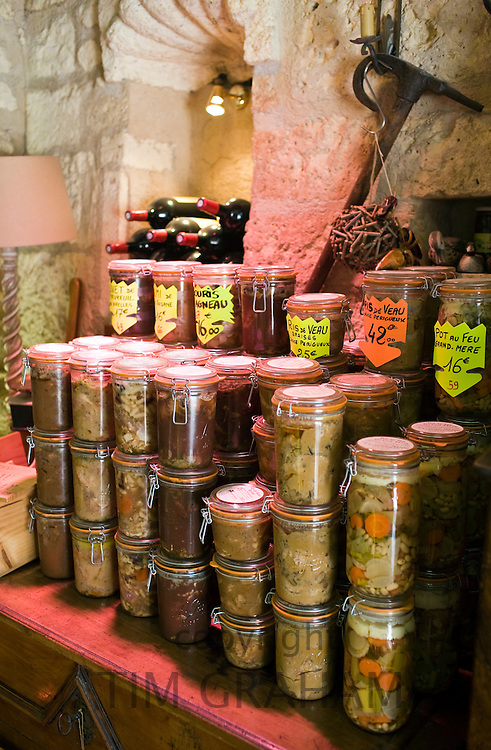 Preserved meats and other foods on sale in Brantome in North Dordogne, France