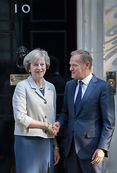 © Licensed to London News Pictures. 08/09/2016. London, UK.  Prime Minister Theresa May meets with President of the European Council, Donald Tusk in Downing Street.  Photo credit: Peter Macdiarmid/LNP