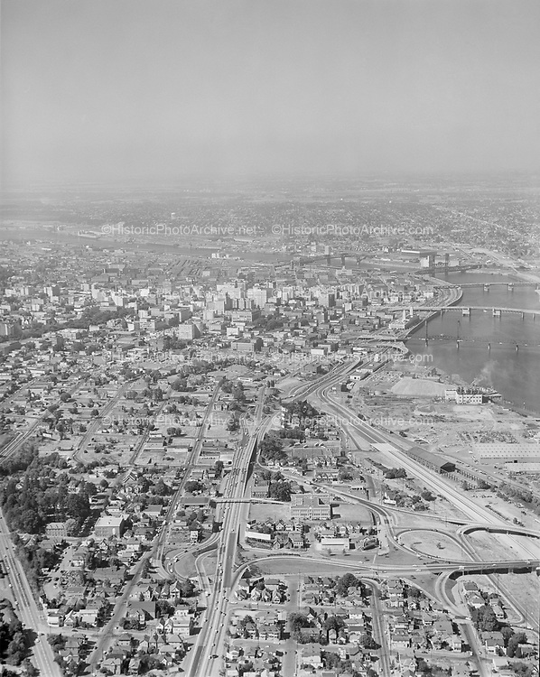 """Ackroyd 10444-1/12""""Portland Development Commission. Urban renewal. Downtown Portland. August 9, 1961"""", vertical. South Auditorium district. Looking north from Ross Island Bridge towards downtown."""