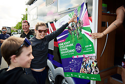 Tiffany Cromwell (AUS) helps a young fan collect signatures at Stage 2 of 2019 OVO Women's Tour, a 62.5 km road race starting and finishing in the Kent Cyclopark in Gravesend, United Kingdom on June 11, 2019. Photo by Sean Robinson/velofocus.com