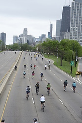 May 26, 2019 - Chicago, Illinois, USA - Thousands of cyclists participated in the Fifth Third Bank's Bike the Drive in Chicago held  the morning of May 26, 2019.  The City clears Lake Shore Drive of cars and opens it to  bicyclists only for this non-competitive ride.  Participants can choose to ride any part of the Drive or complete the entire 30 miles. Bike the Drive is an annual event  that takes place on Sunday of Memorial Day weekend, founded in 2002 by the Chicagoland Bicycle Federation. (Credit Image: © Karen I. Hirsch/ZUMA Wire)
