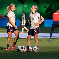 Forward MEGAN RAPINOE practices in the early evening light before the US Women's National Team (USWNT) beats Nigeria, 2-0 in the inaugural match of Austin's new Q2 Stadium. The U.S. women's team, an Olympic favorite, is wrapping up a series of summer matches to prep for the Tokyo Games.