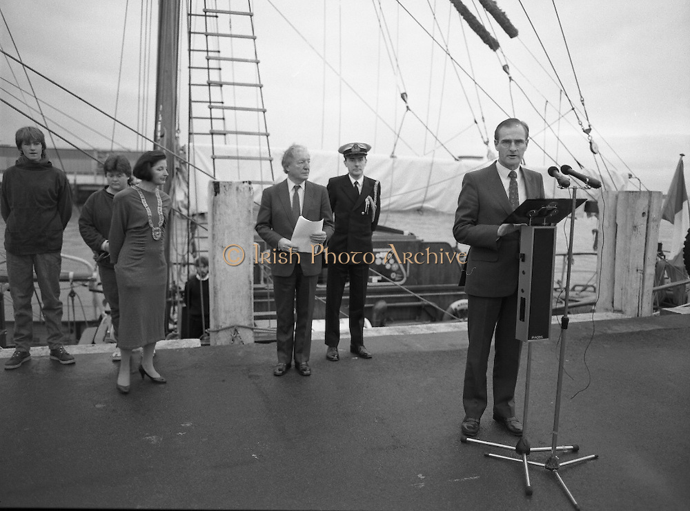 Asgard II departs for Australia.   (R66)..1987..15.10.1987..10.15.1987..15th October 1987..The Asgard II training ship departed from the National Yacht Club in Dun Laoghaire en route to Australia. The Asgard II was a purpose built training brigantine built by Jack Tyrrell in Wicklow. On hand to sent the Asgard Ii on her way was An Taoiseach, Mr Charles Haughey, and Mr Frank Milne the Australian Ambassador to Ireland...A member of the Asgard organising committee is pictured welcoming An Taoiseach and local dignitaries to the occasion of the trip to Australia of the Asgard II.