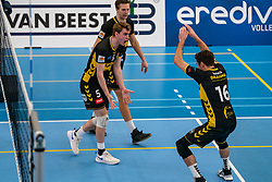 Sjors Tijhuis #5 of Dynamo, Nico Manenschijn #6 of Dynamo, Mats Kruiswijk #16 of Dynamo celebrate in the second round between Sliedrecht Sport and Draisma Dynamo on February 29, 2020 in sports hall de Basis, Sliedrecht