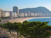 Overhead view of sunny Copacabana Beach in Rio de Janeiro, Brazil