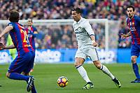 FC Barcelona's Sergi Roberto, Sergio Busquets and Real Madrid's Cristiano Ronaldo during spanish La Liga match between Futbol Club Barcelona and Real Madrid  at Camp Nou Stadium in Barcelona , Spain. Decembe r03, 2016. (ALTERPHOTOS/Rodrigo Jimenez)